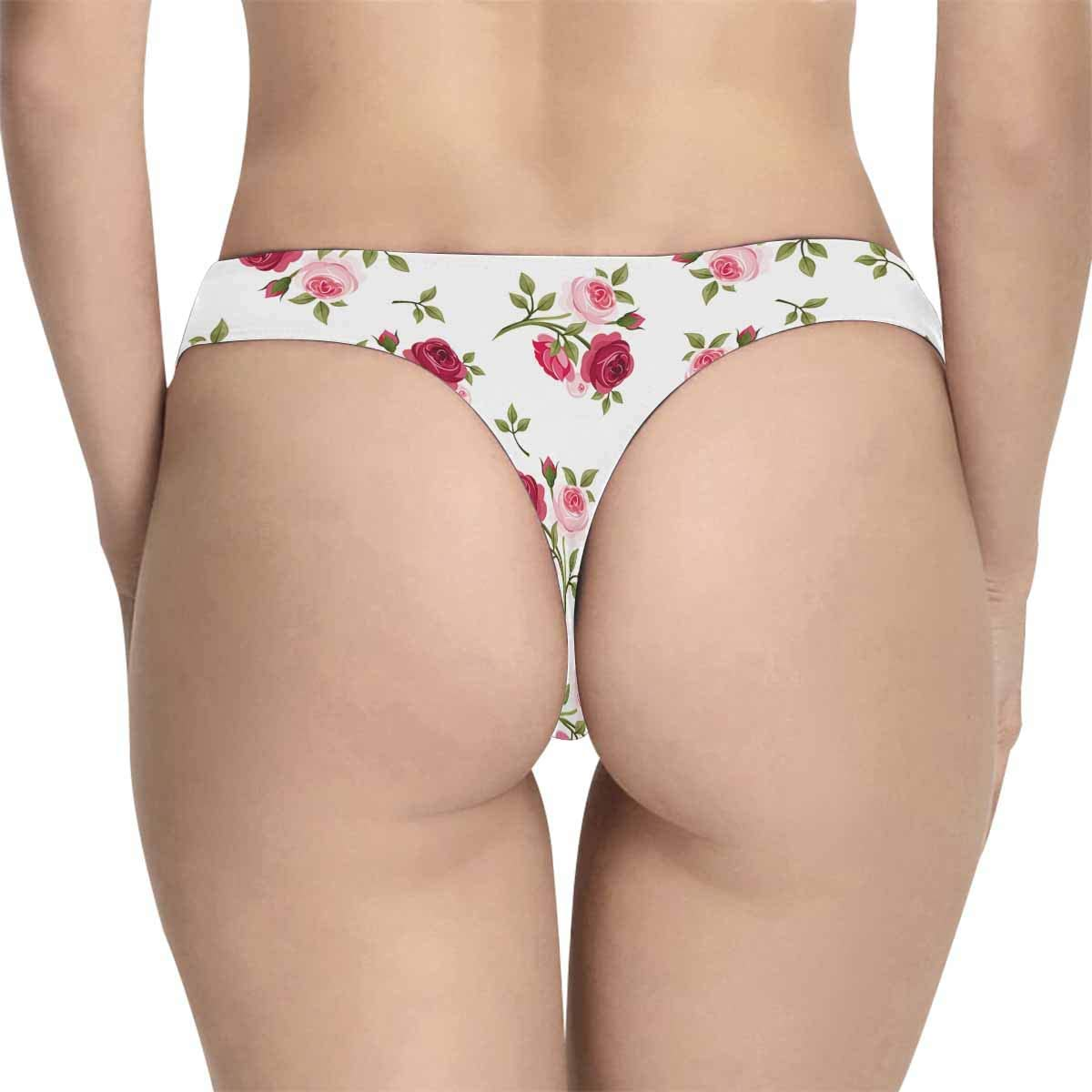 INTERESTPRINT Womens Underwear Panties Soft Thongs Red and Pink Roses