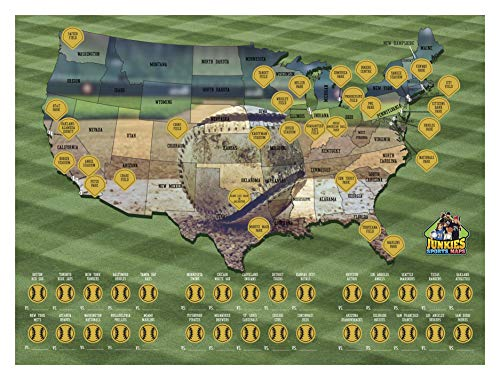 (Scratch-off Baseball Poster, Sports, Maps, Collectors, Travel Stadium, United States, Bucket List Poster)