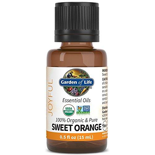 Garden of Life Essential Oil - Sweet Orange 0.5 fl oz (15mL), 100% USDA Organic & Pure, Clean, Undiluted & Non-GMO - for Diffuser, Aromatherapy, Meditation - Joyful, Calming, Balancing, Uplifting
