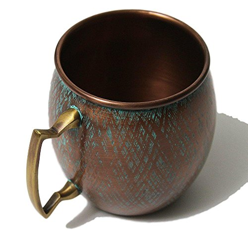 Copper Antique Cup - Copper Mug with Antique Patina Blue Finish - Perfect for Moscow Mules - 100% Pure Copper Cup by Alchemade - 16 OZ