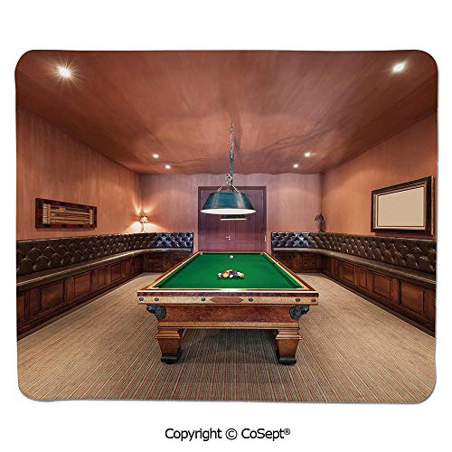 Ergonomic Mouse pad,Entertainment Room in Mansion Pool Table Billiard Lifestyle Photo Print,Water-Resistant,Non-Slip Base,Ideal for Gaming (15.74