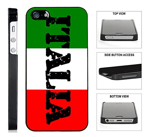 [TeleSkins] - Italia Italian Flag - iPhone 4 / 4S Black Plastic Case - Ultra Durable Slim & HARD PLASTIC Highly Protective Vibrant Snap On Designer Back Case / Cover. [Fits iPhone 4 / 4S] Four Italian Charm