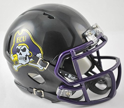 (Riddell NCAA East Carolina Pirates Helmet Mini SpeedHelmet Replica Mini Speed Style Black, Team Colors, One Size)