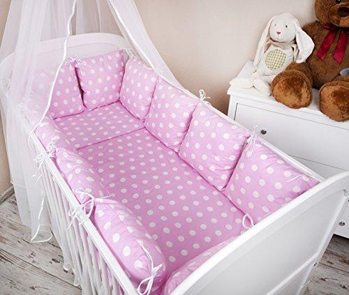 Baby Nestchen Bettumrandung 420 cm Design: Pünktchen rosa Bettnestchen Kantenschutz Kopfschutz für Babybett Bettausstattung