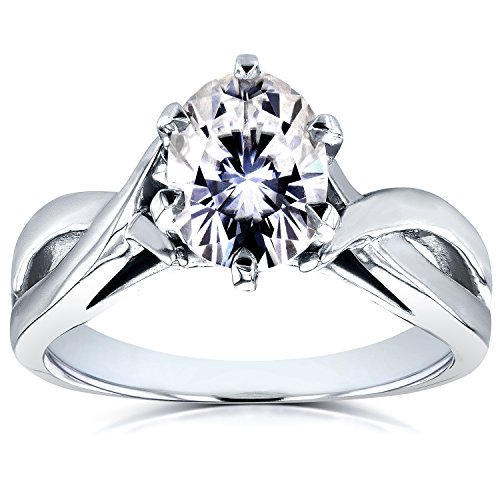 Forever One (D F) Oval Moissanite Solitaire Crossover Ring 1 1/2 CTW in 14k White Gold