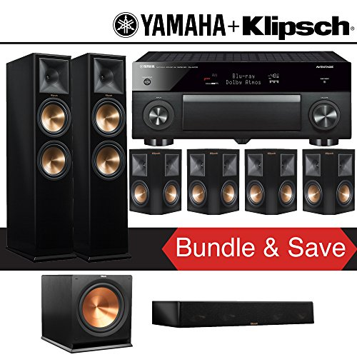 Klipsch RP-280F 7.1-Ch Reference Premiere Home Theater System (Piano Black) with Yamaha AVENTAGE RX-A1070BL 7.2-Channel Network A/V Receiver