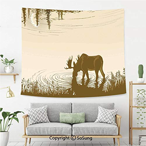 Animal Wall Tapestry,Silhouette of Elk Drinking Water in Lake River Forest Wildlife Scenery Illustration,Bedroom Living Room Dorm Wall Hanging,92X70 Inches,Cream -
