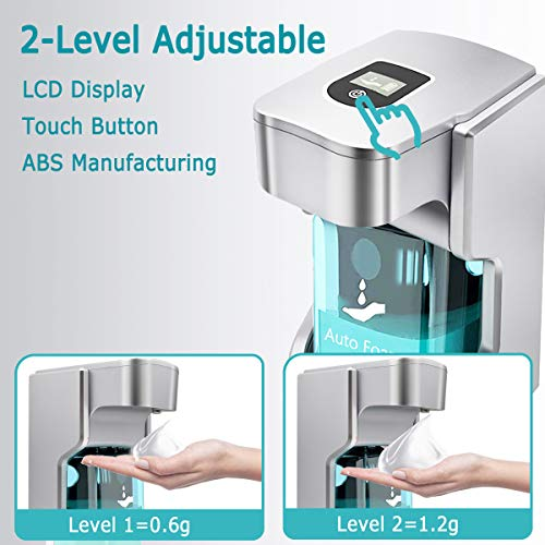 Automatic Soap Dispenser Touchless, Hand Free Soap Dispenser Sanitizer Liquid Soap Dispenser for Bathroom Kitchen USB Charging 17.6oz/500ml (Silver-USB Charging)