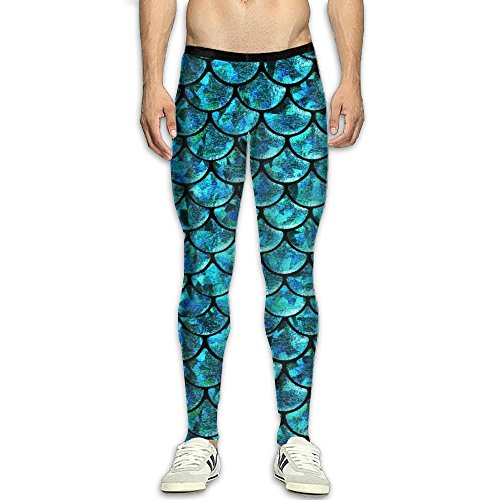 HTSDE Men's Compression Pants Baselayer Running Tights Mermaid Scales 3D Print Fitness Sports Leggings