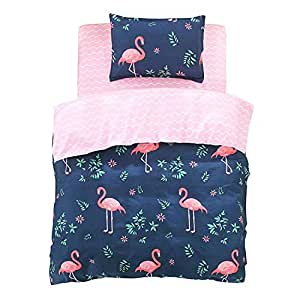 4 Pcs Bedding Set Modern Style Flamingo Print Duvet Cover Set with 1 Sheet 1 Bed Cover 2 Pillow Cases