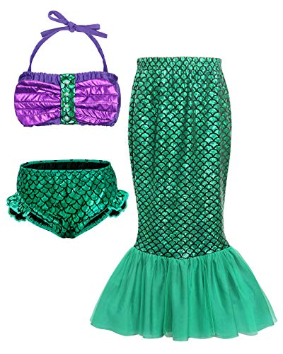 HenzWorld Little Mermaid Ariel Costume Dress Up Swimsuit Princess Girls Cosplay Party Pool Bathing Set -