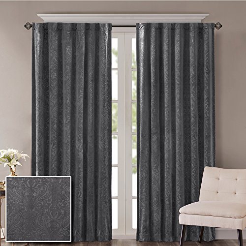 Comfort Spaces - Embossed Paisley Motif Poly Velvet Window Curtain Pair 4pc set - Dark Grey - 50x84 Inch Panel - Energy Efficient Saving - Curtain Rod Pocket - Include 2 Panels and 2 Tiebacks (Rod Pocket Panel Set)