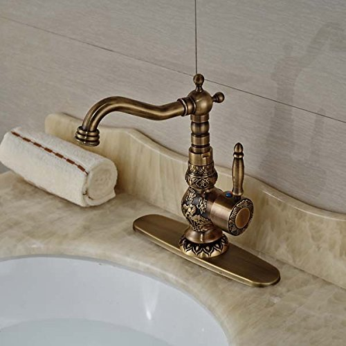 Senlesen Antique Brass Bathroom Faucet Flower Carved Body Vanity Sink Mixer Tap Swivel Spout with Hole Cover Plate