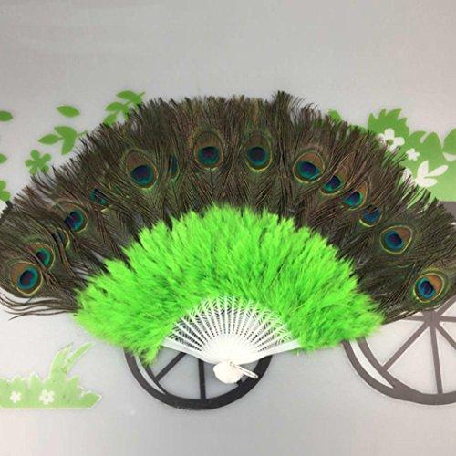 [Coerni Elegant Fancy Costume Party Dance Fan for Wedding ,Dancing, Large Feather Folding Hand Fan Decor on SALE (Green)] (Dragon Dance Costume For Sale)