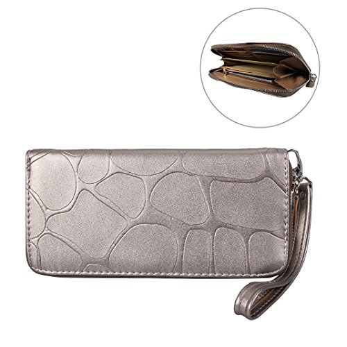 Soft Arm Large Slots Capacity Case and Wrist Fashion Pouch PU Coins Handbag Pattern Strap Card for Phone Card Leather Women with Purse HuaForCity Zipper Pouch Luxury Wallet 5in gold 5 Champagne Holder Lady Stone for UqwtaYI