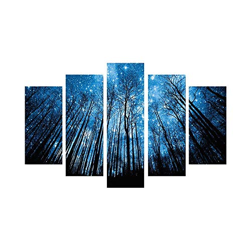 Amaping 5 Pieces DIY 5D Diamond Painting by Number Kits Combination Crystal Rhinestone Pasted Embroidery Cross Stitch Kits, Forest Starry Night Picture Arts Craft for Home Wall Decor (C)
