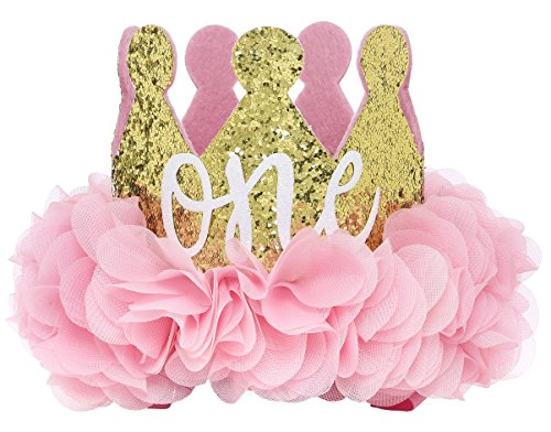 (Posh Peanut First Birthday Hat ONE Cute Baby Crown Princess Tiara Sparkle Gold Pink Flower Design)