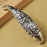 1 PCS Handmade 925 Stamp Sterling Silver Protection Lotus Fish Charm with Marcasite Gemstone DIY Jewelry Making Parts WSP021