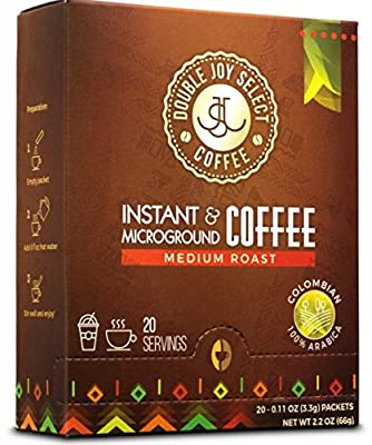 Premium Instant Coffee 20 Packets. Medium Roast Colombian Coffee. Sweet Arabica Beans Taste Fresh Brewed. Cupping Notes: Bold, Creamy, Smooth, Long Finish, No Bitter Aftertaste by Double Joy Select