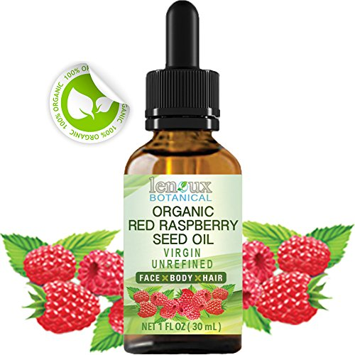 RED RASPBERRY SEED OIL ORGANIC. 100 % PURE VIRGIN UNREFINED COLD PRESSED . For Skin, Hair, Lip and Nail Care (1 Fl.oz. - 30 ml.)