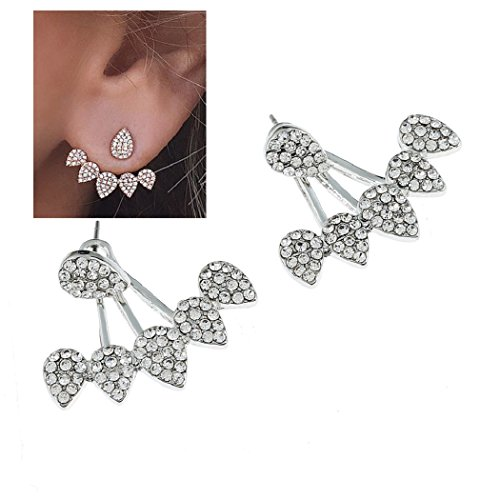 SUNSCSC Clear Crystal Rhinestone Dangle Gold Silver Water Drop Simple Ear Stud Earrings (Silver) - Crystal Star Drop