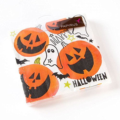 Papyrus Jack-O-Lantern Holiday Party Disposable Napkins Happy Halloween Beverage (20 Count) Bats Ghosts Pumpkins
