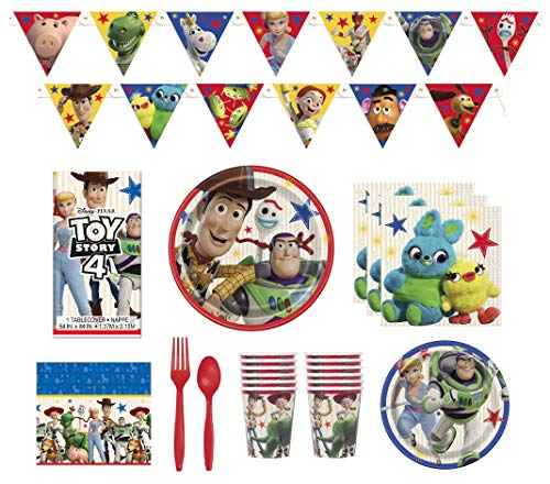 Toy Story 4 Party Supplies Birthday Decorations And Tableware Serves 16 Plates Napkins Cups Table Cover Banner Premium Plastic Cutlery