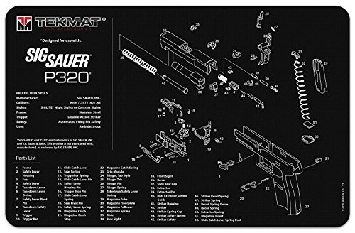 Sig Sauer P320 Gun Cleaning Mat  Thick  Durable  Waterproof  Scratch Resistant  With Parts Diagram And Instructions   Armorers Bench Mat   Sig Sauer P320 Accessories   Original Tekmat