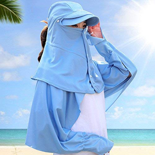 bluee Dingkun Face mask female summer outdoor windproof sunscreen sun hat