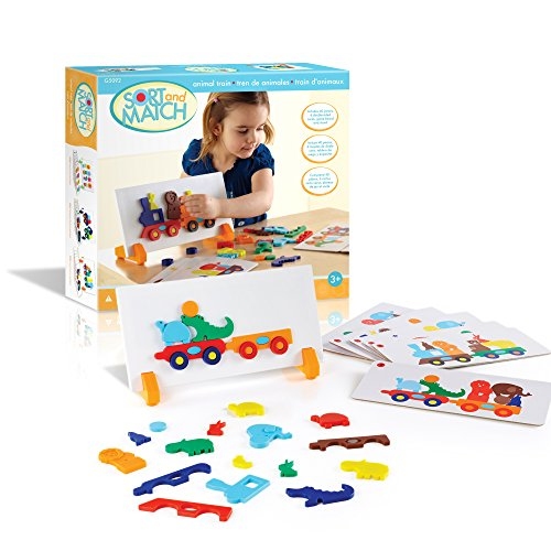 Guidecraft Animal Train Sort and Match - 40 pieces Color and Shapes Matching Game for Children - Kids Early Learning and Development Toy - Guidecraft Infant Toy Box