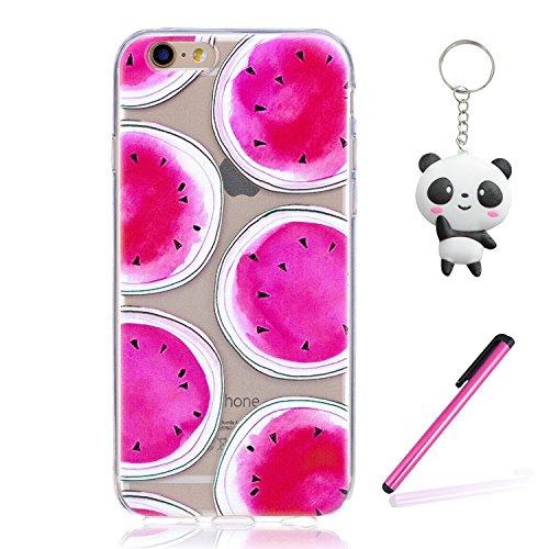 iPhone 6 6S Coque Pastèque rose Premium Gel TPU Souple Silicone Transparent Clair Bumper Protection Housse Arrière Étui Pour Apple iPhone 6 6S + Deux cadeau