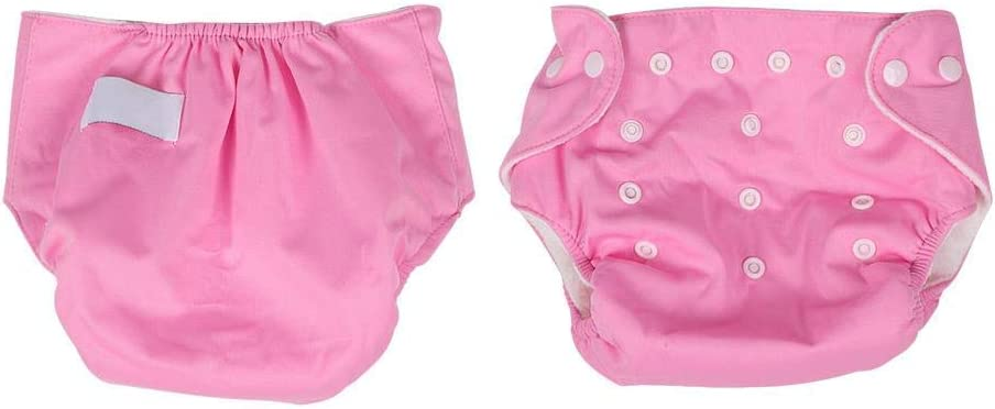 Baby Diaper Adjustable Leak Proof Pants Breathable Button Cloth Diaper Reusable Nappy Diapers Training Pants for Newborn Infant Toddlers Pink