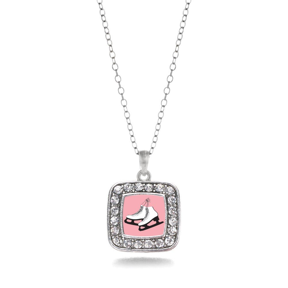 Figure Skating Ice Skates Charm Classic Silver Plated Square Crystal Necklace Inspired Silver 11159