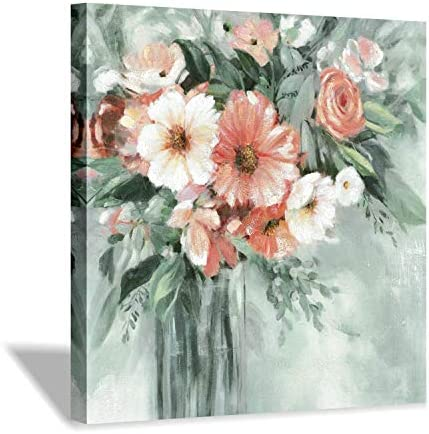 Hardy Gallery Abstract Flower Wall Art Painting Full Blooming Colorful Floral Artwork Picture on Canvas for Bathroom 24 x 24 x 1 Panel