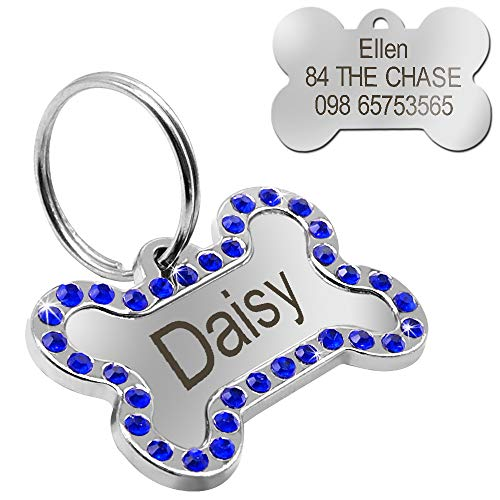 Didog Rhinestone Custom Engrave Dog ID Tags, Bone Shape,Blue -