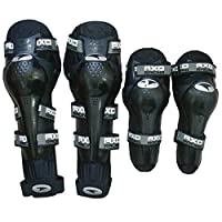 Motoway AXO Motorcycle Racing Riding Knee & Elbow Guard Pads Protector Gear Black (Black Pack of 4) for All Bike