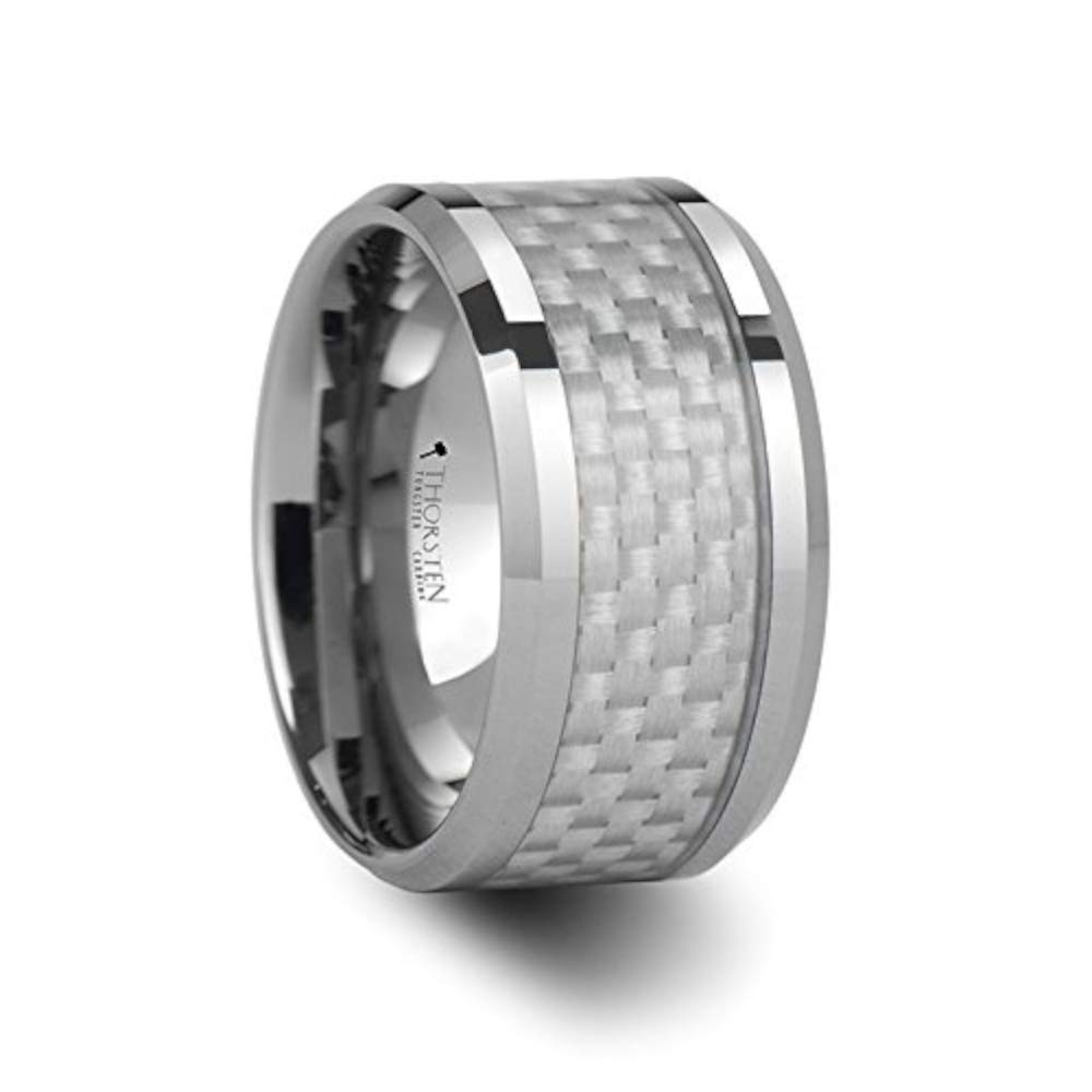 ROCKFORD White Carbon Fiber Inlay Tungsten Carbide Ring - 12mm - FREE Engraving