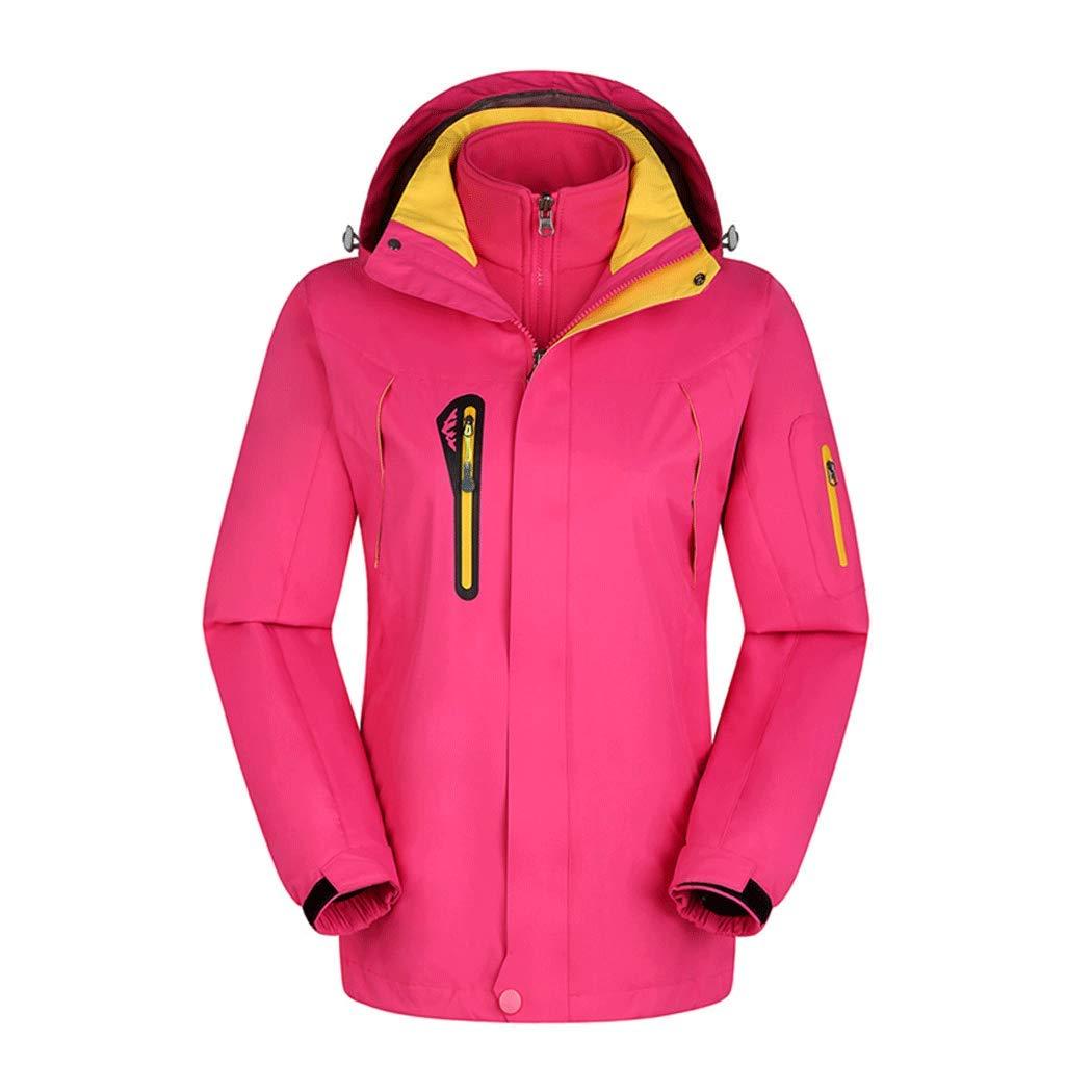 男性と女性のジャケット取り外し可能な裏地屋外ジャケットスキーウェア登山服釣り服 Ladies ピンク XL