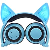 Wireless Bluetooth Cat Ear Headphones with Glowing Lights ( Blue )