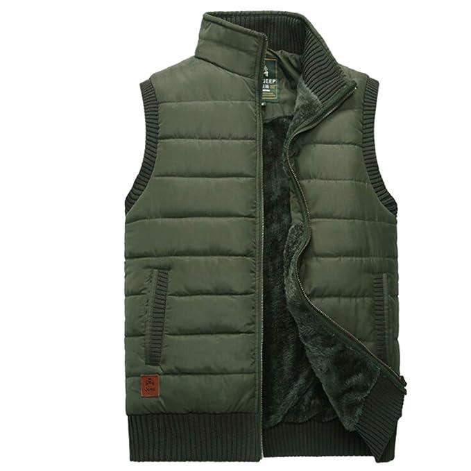 XFentech Acolchado Chaleco para Hombres - Invierno Sin Mangas Abrigo Cuerpo Más Cálido Chaleco con Bolsillos Tallas Grandes: Amazon.es: Ropa y accesorios