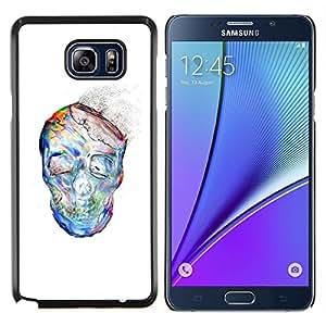 YiPhone /// Prima de resorte delgada de la cubierta del caso de Shell Armor - El polvo de la acuarela blanco del cráneo Esqueleto - Samsung Galaxy Note 5 5th N9200