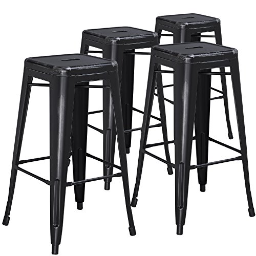 Flash Furniture 4 Pk. 30'' High Backless Distressed Black Metal Indoor-Outdoor Barstool