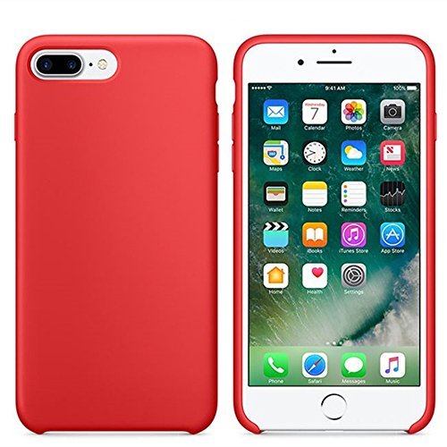 - VANVENE Fuleadture Liquid Silicone Gel Rubber Shockproof Soft Full Protective Cover with Microfiber Cloth Lining Cushion Compatible for iPhone 7 Plus/8 Plus (RED-2)