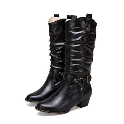 d31d7c036ce13 Amazon.com | Womens Chunky Stacked Heel Riding Boot Vintage Pointed ...