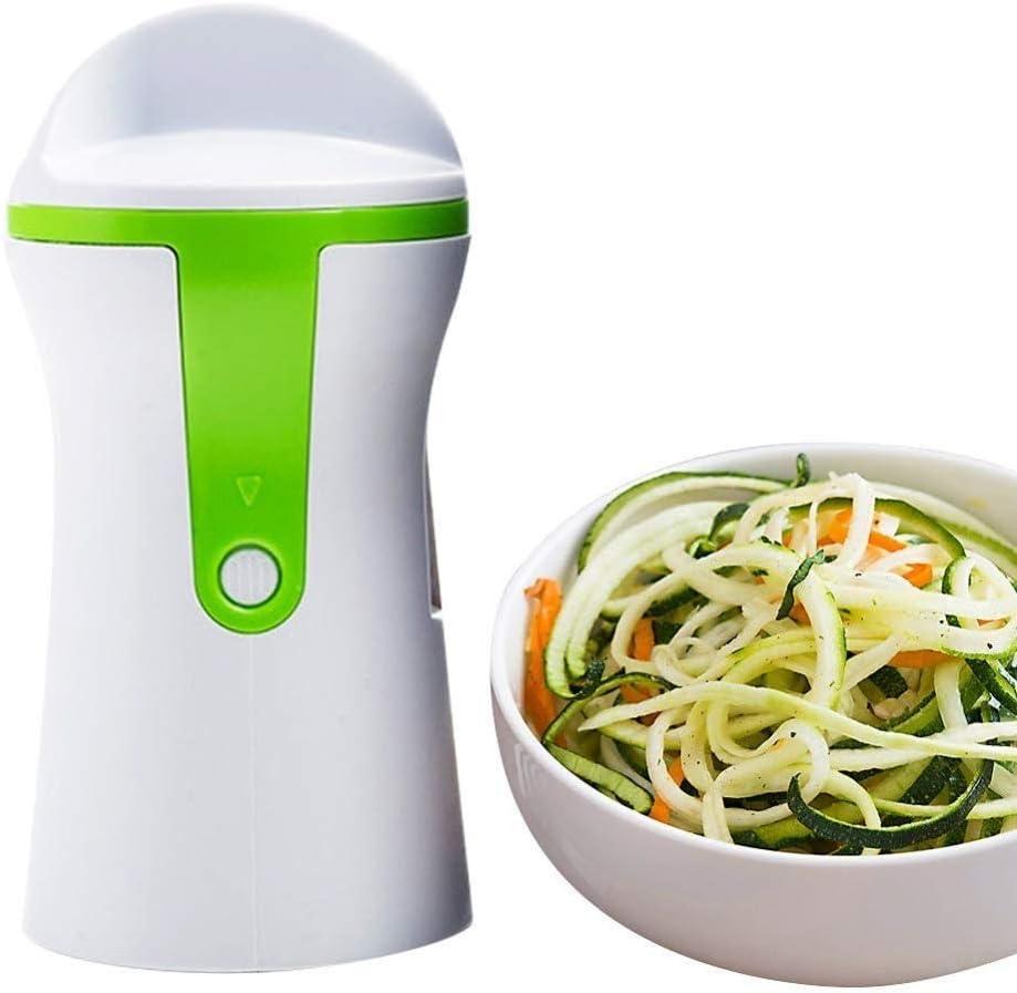 LJN Portable Spiralizer Vegetable Slicer,Handheld Spiralizer Peler Stainless Steel Spiral Slicer for Potatoes Zucchini a/Green / 57.5x42.5x470CM