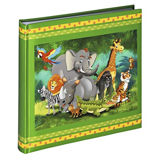Hama Photo Album with 50 Pages 100 Photos Sized 10 x 15 Photo Book Jungle Animals (Children Colorful Animals Jungle Photo Album Green 25 x 25 cm).