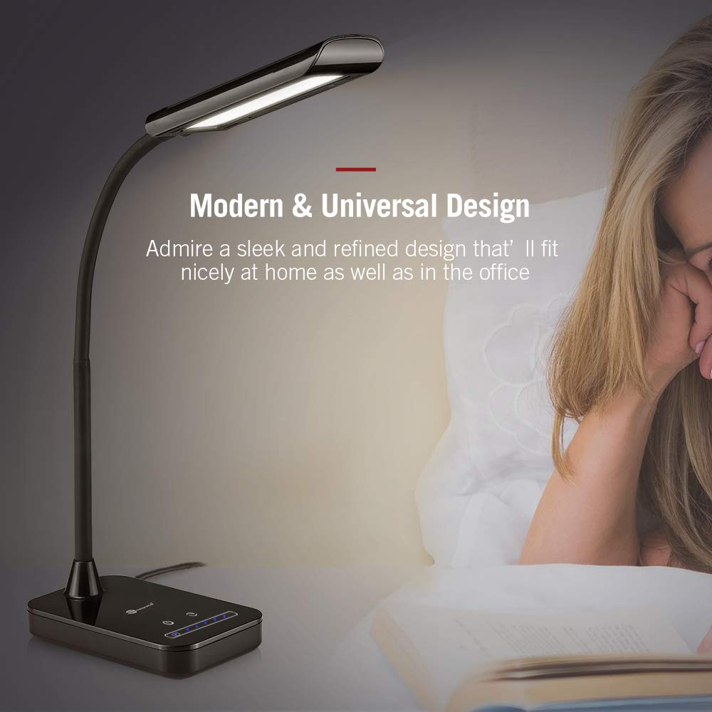TaoTronics LED Desk Lamp, Flexible Gooseneck Table Lamp, 5 Color Temperatures with 7 Brightness Levels, Touch Control, Memory Function, 7W, Official Member of Philips EnabLED Licensing Program by TaoTronics (Image #6)