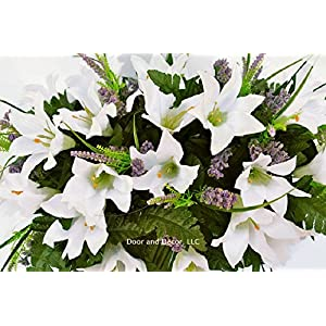 Cemetery Spring Flowers ~Spring white lilly mix~headstone saddle arrangement~cemetery flower service~grave site decor~sympathy flowers~flowers for graves~Lillies and wildflowers 4