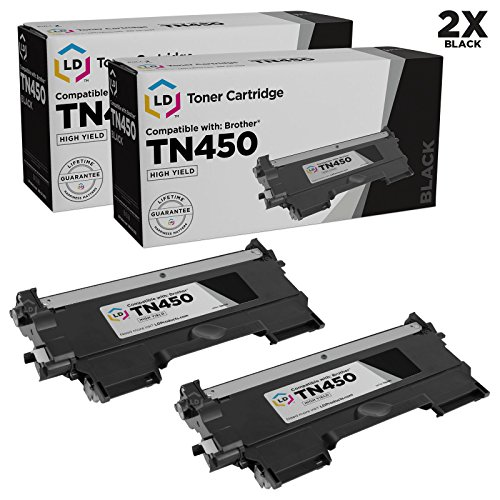 LD © compatible with Brother Set of 2 TN450 High Yield Toner Cartridges for DCP-7060D, DCP-7065DN, HL-2130, HL-2132, HL2230, HL-2240, HL2240D, HL-2242D, HL-2250DN, HL-2270DW, HL-2280DW, Intellifax 2840, Intellifax 2940, MFC-7240, MFC7360N, MFC-7460DN and MFC-7860DW Printers