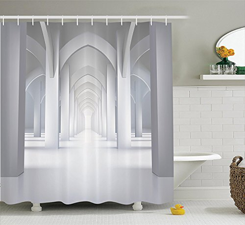 [Apartment Decor Collection Long Hallway Illustration Museum Exhibition Room Palace Style Design Architecture Polyester Fabric Bathroom Shower Curtain White] (Museum Of Country Life And Costume)